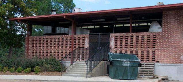 Brick screen at rear of building