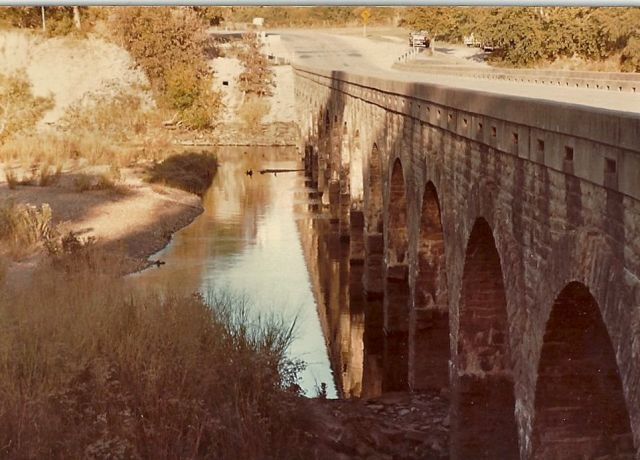 Stone bridge across Brazos River, Palo Pinto County, Texas