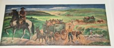 """Early Settlers Entering Mt. Pleasant"" Used with permission of the United States Postal Service."
