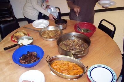 Communal meal Mound Bayou service learning