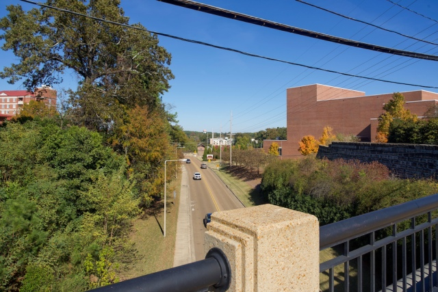 University bridge toward depot